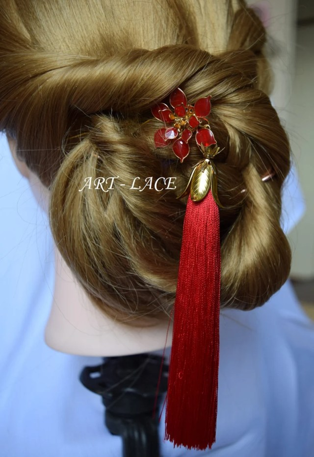red poinsettia hair fork red gold chinese bridal hair accessory bridal long red tassel decorative hair flowers xmas hair fork red wedding