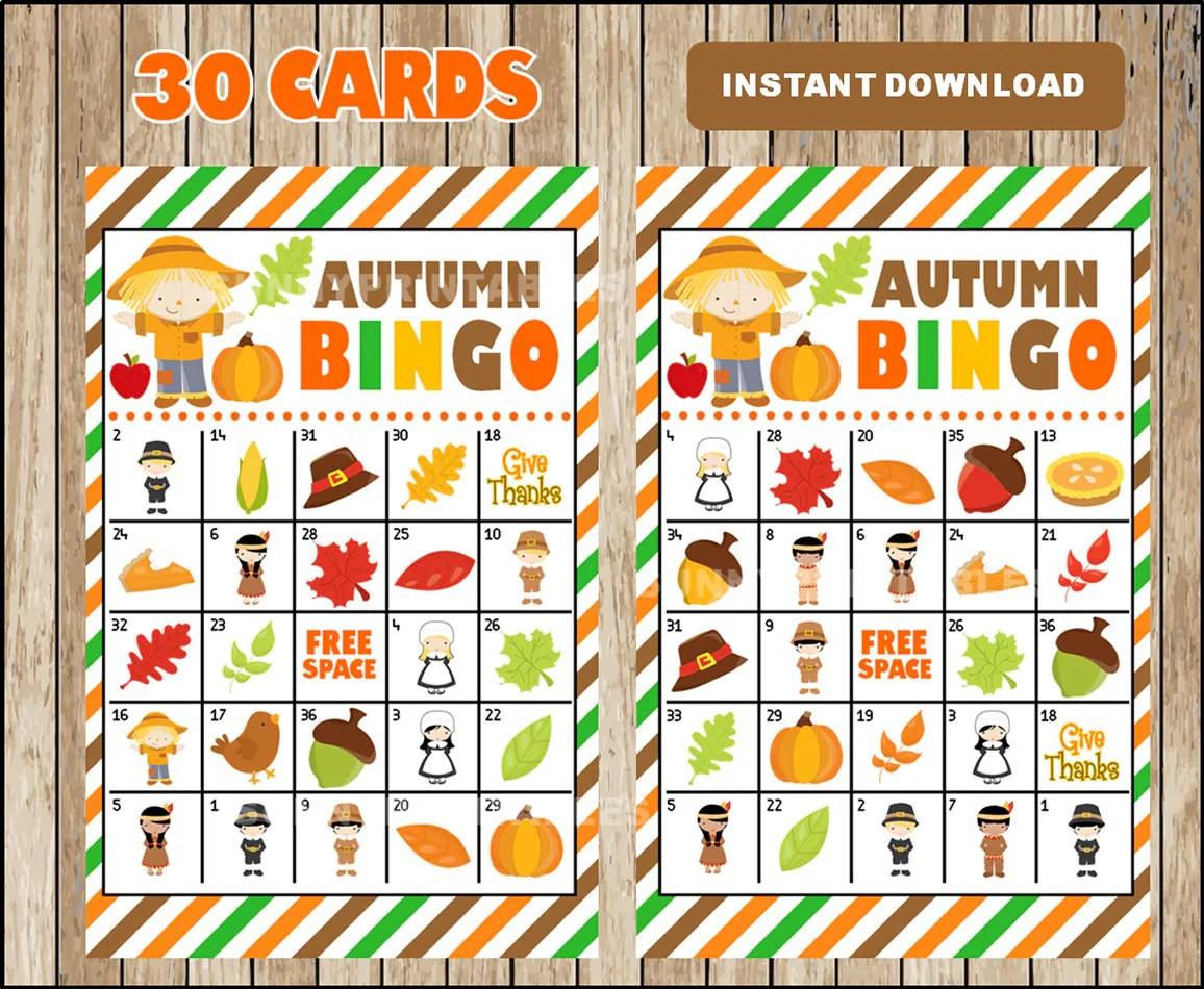 Printable 30 Fall Autumn Bingo Cards Printable Harvest Bingo