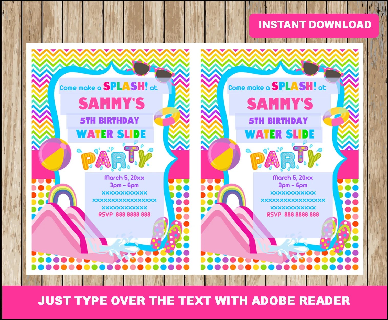 water slide party invitation waterslide birthday invitation waterslide party customizable template editable pdf file you fill and print