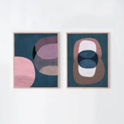 Set Of Two Retro Geometric Contemporary Abstract Prints In Etsy
