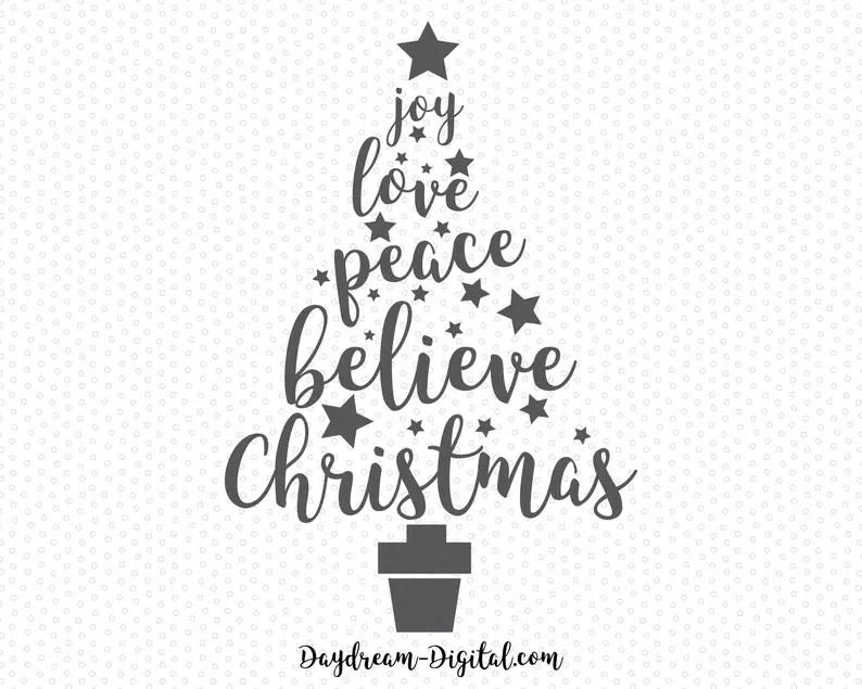 Download Joy Love Peace Believe Christmas Christmas Tree Word Art ...