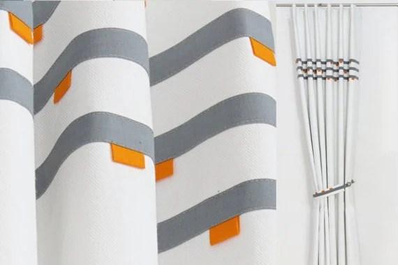 orange gris blanc moderne de rideaux panneau de rideau geometrique minimes masculin rideau rideaux de fenetre gris blanc contemporain milieu du