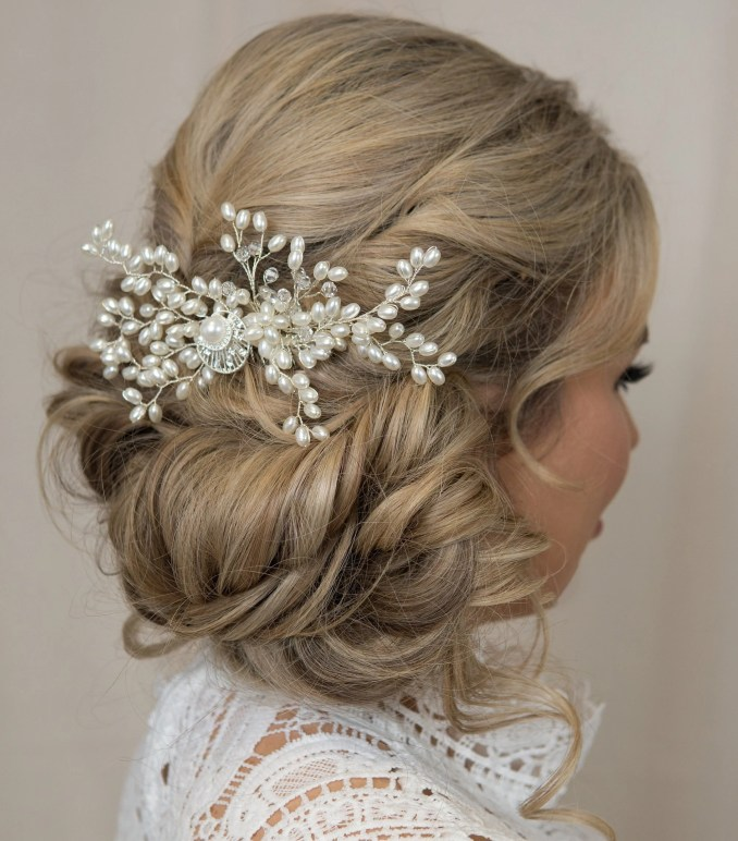 pearl hairpiece ivory pearl wedding hair comb bridal hair piece classic bride hair accessories hair vine side comb boho wedding dress