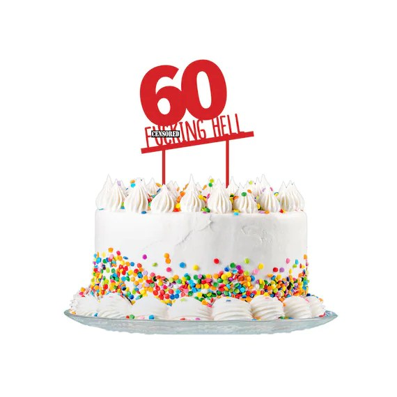 60th Birthday Cake Topper Cut From 3mm Red Acrylic For Men Etsy