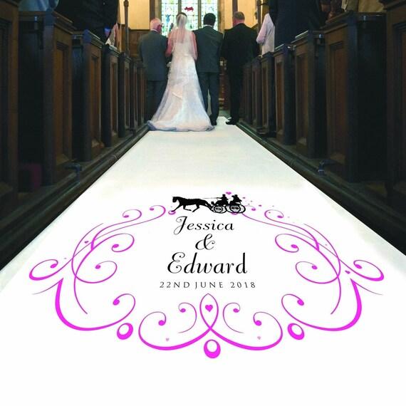 mariage personnalise allee runner cheval et chariot design avec prenoms et date decoration de ceremonie de tapis choix de grandeurs