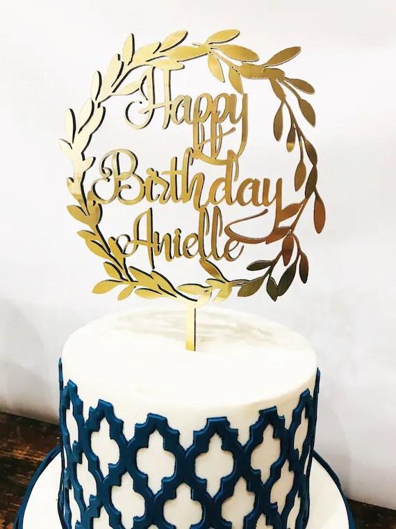 Happy Birthday Cake Topper Name Cake Topper Custom Cake Etsy