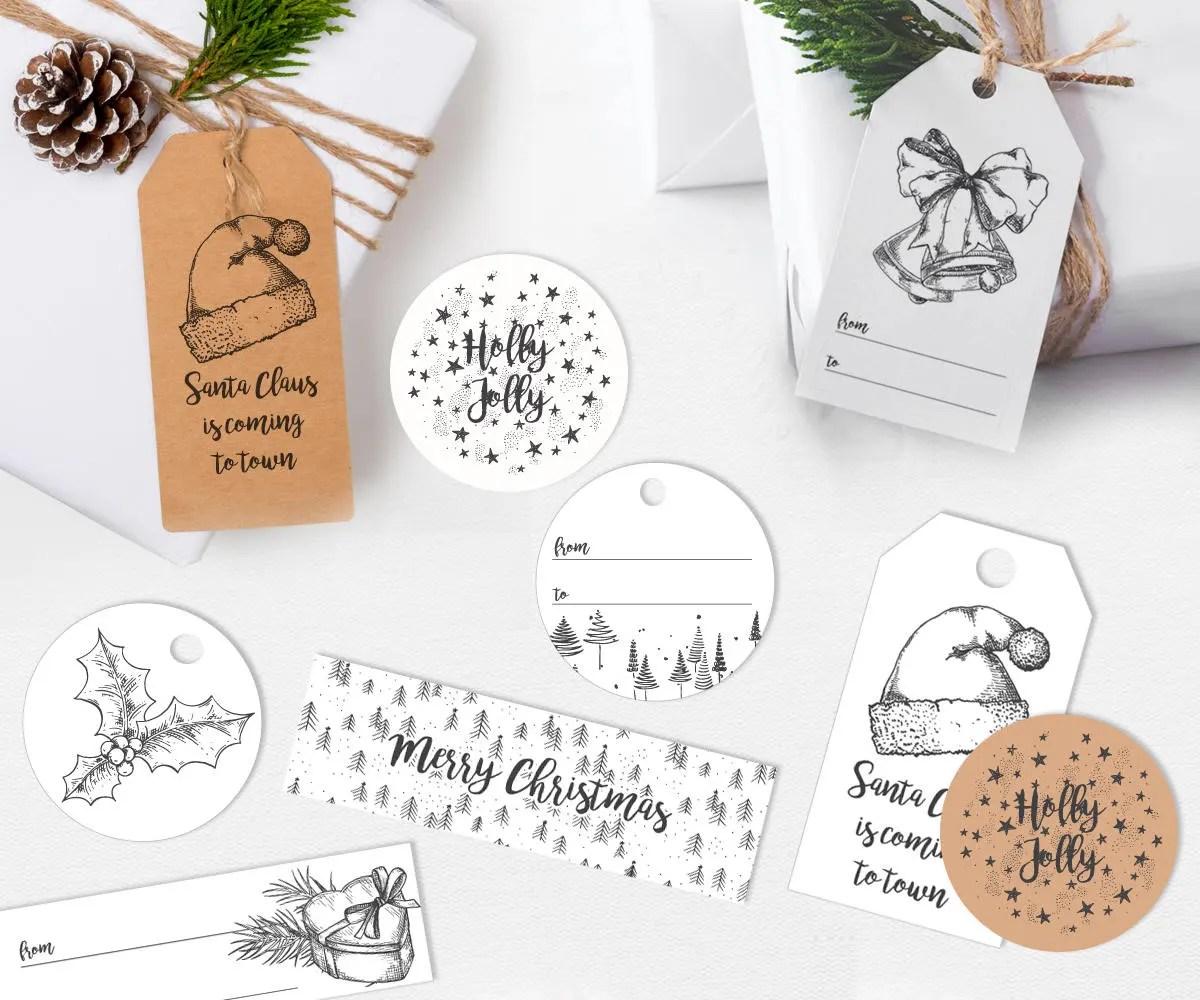 Black And White Christmas Gift Tags Printable Gift Tags Simple Christmas Tags Modern Xmas Gift Tags Christmas Printables Christmas Decor