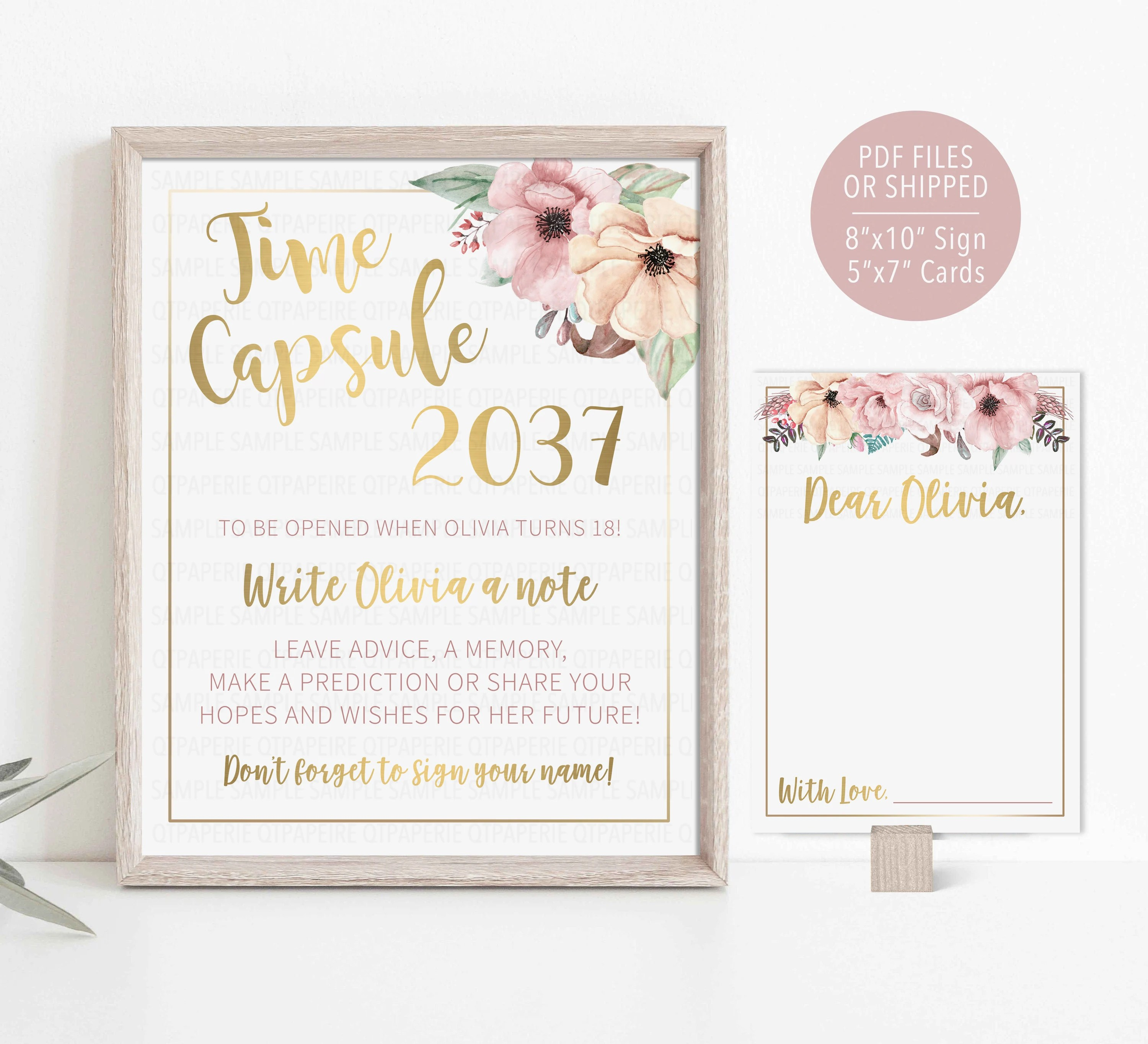 Floral Time Capsule First Birthday Decor