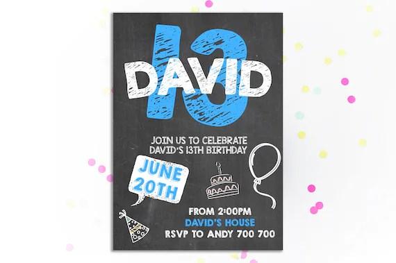 13th Birthday Invitation Boy Birthday Invitation 13th Birthday Etsy