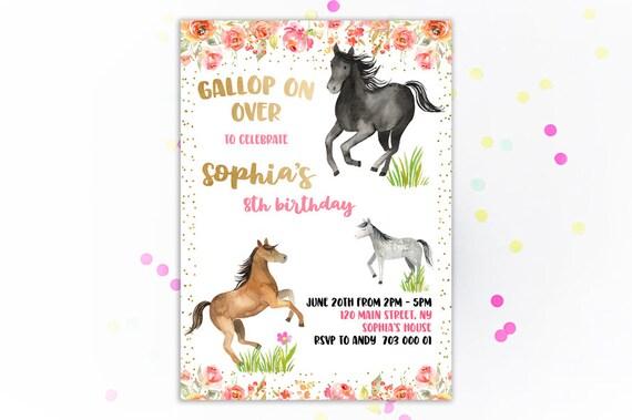 horse birthday party invitation horse birthday party invites riding gallop on over horse party invite printable floral confetti horse theme