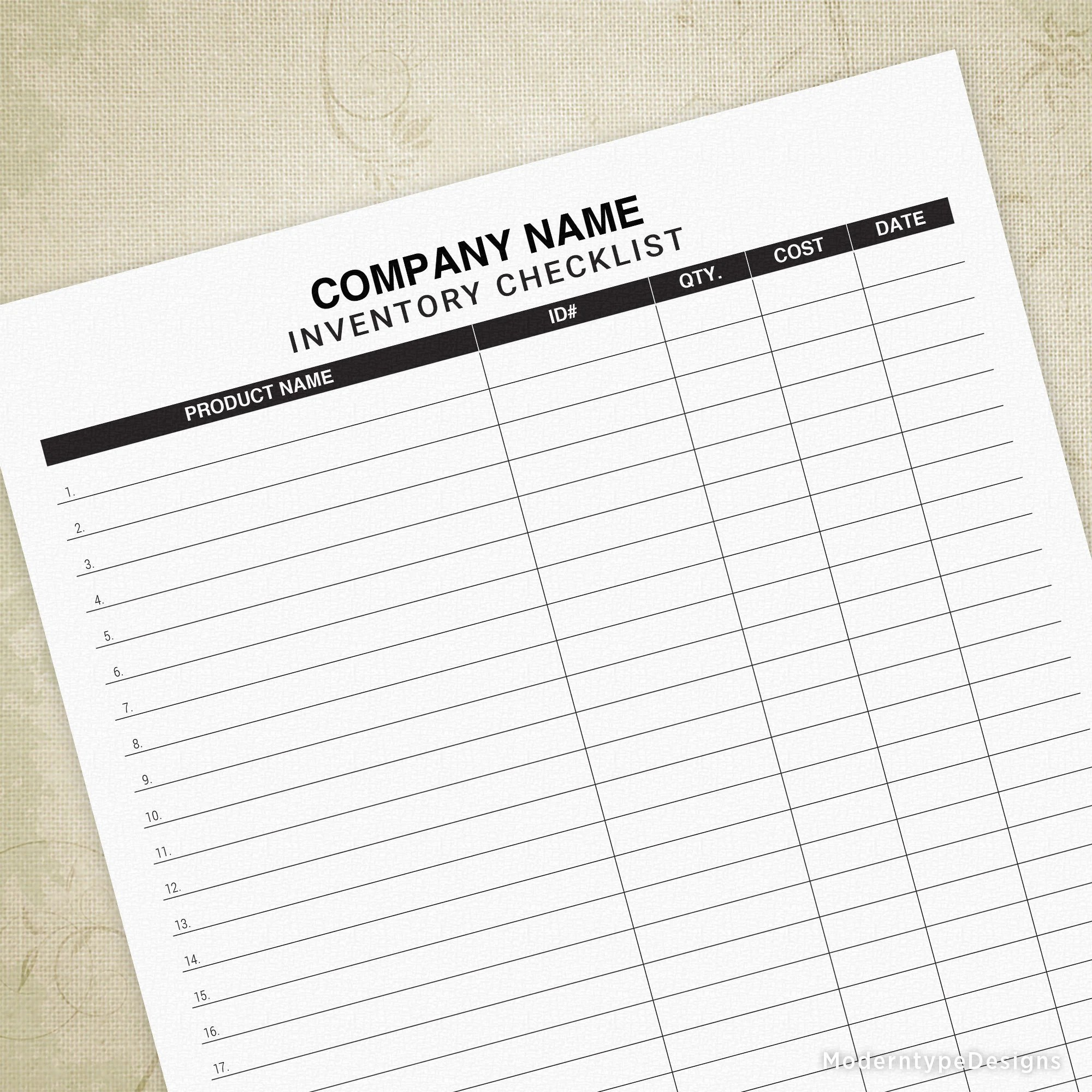 Custom Inventory Checklist Tracker Printable Form Easy List Out Of Stock Planner Custom Editable Titles Digital File Icl001