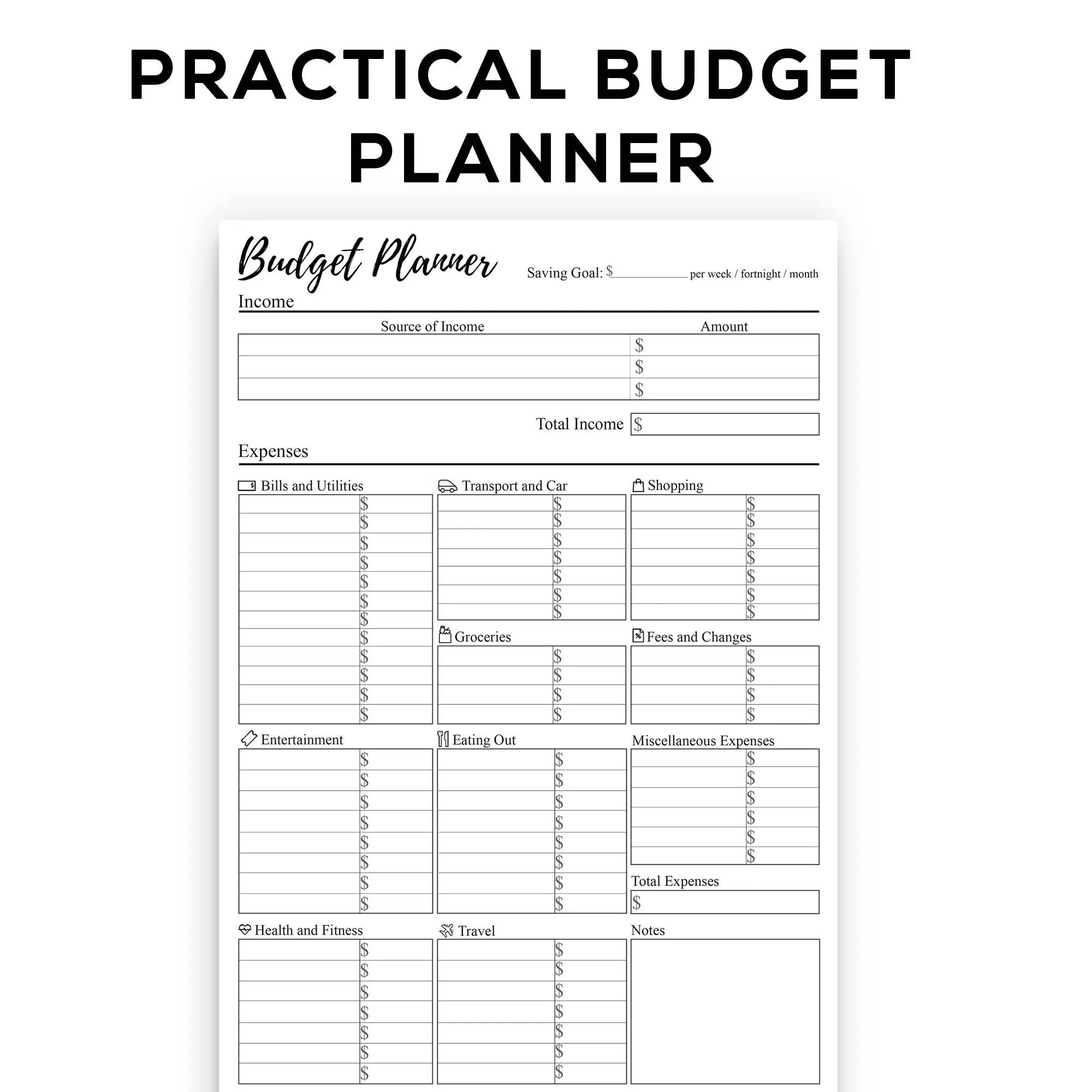 Printable Budget Planner For Weekly Fortnightly And Monthly