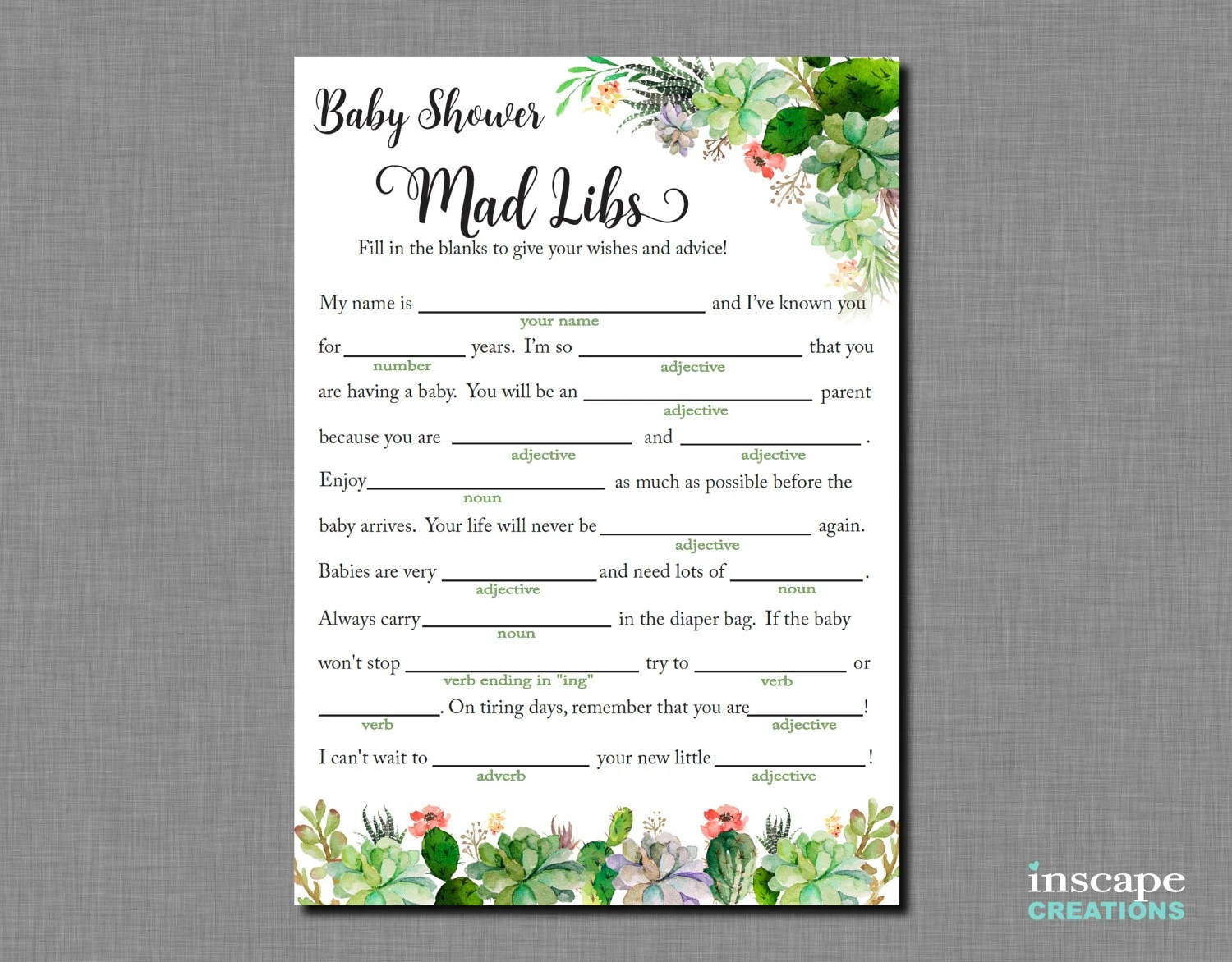 Mad Libs Succulent Baby Shower Mad Libs Game Printable