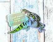 Aromantic Pride Gecko quote Sticker, garlic bread meme quote sticker grsd / gsd / lgbtqia+ Pride Flag animal pride holographic vinyl decal