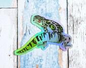 Aromantic Pride Gecko Large Holo Sticker - Subtle grsd / gsd / lgbtqia+ Pride Flag leopard gecko animal pride holographic vinyl lizard decal