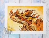 Giclée Art Print 'Scorched' - A4 size watercolor painting of a thorny devil lizard by Wild Portrait Artist, Inktober 2018, reptile