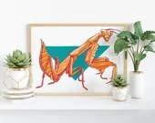 Giclée Art Print 'Angular' - A4 size illustration of a praying mantis insect in paint markers by Wild Portrait Artist, Inktober 2018, bug
