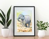 Giclée Art Print 'Precious' - A4 size watercolor painting of an asian elephant calf playing by Wild Portrait Artist, Inktober 2018