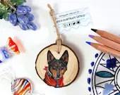 Hand Drawn Custom Pet Portrait Wood Decoration Original Artwork, hand painted commission in colored pencils, personalized pet memento gift