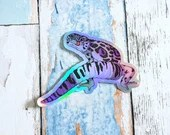 Asexual Pride Gecko Large Holo Sticker - Subtle grsd / gsd / lgbtqia+ Pride Flag, leopard gecko animal pride holographic vinyl decal
