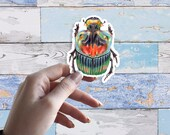 Scarab beetle 8cm Large Glossy Vinyl Sticker, illustrated realistic stickers in coloured pencil, sulcophanaeus imperator insect bug drawing