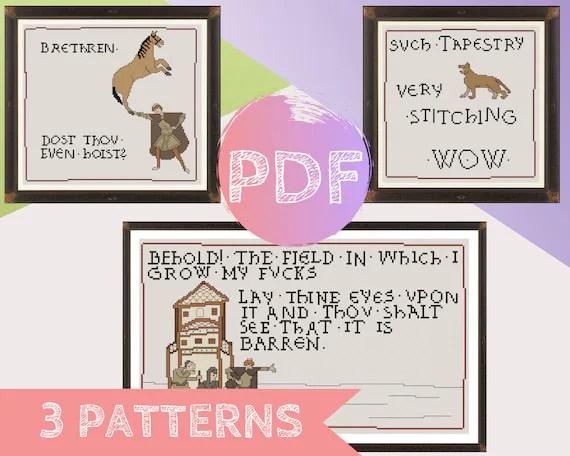 Medieval Meme Bundle Cross Stitch Pdf Pattern Bayeux Etsy