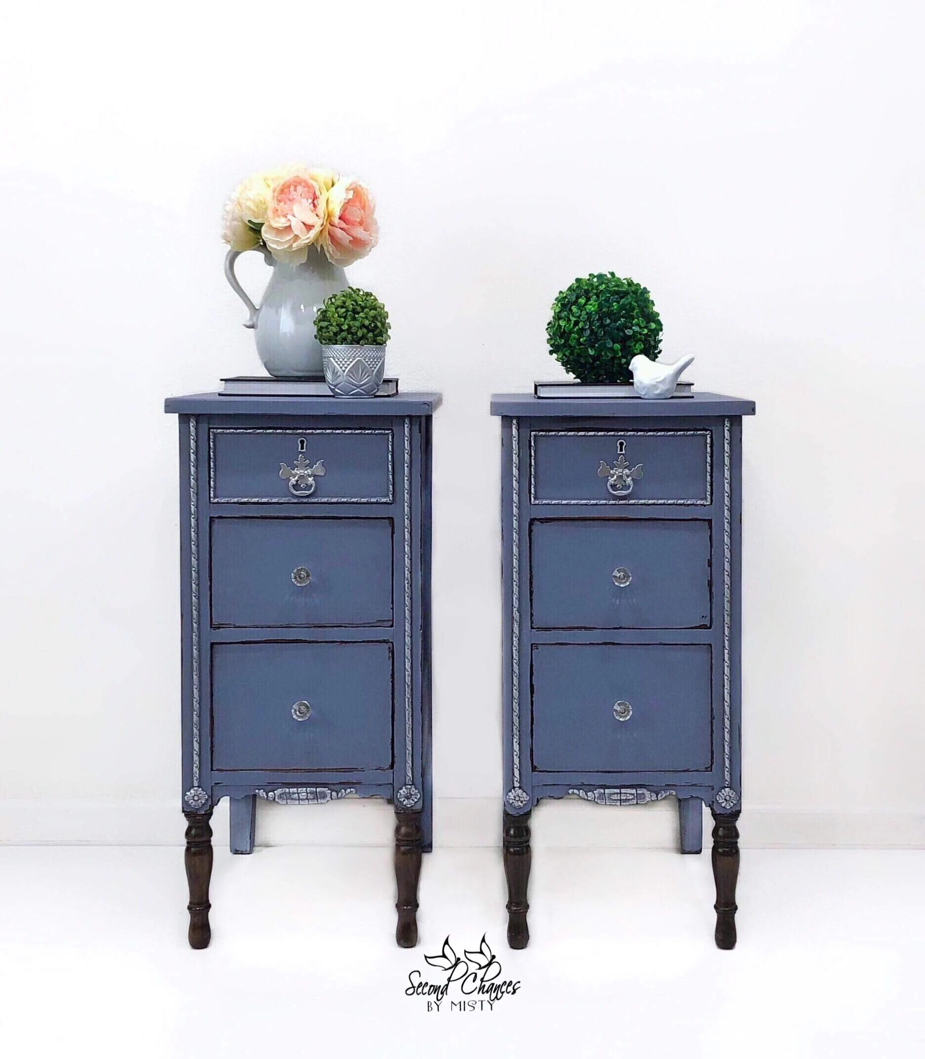 Sold Example Only Nightstands End Tables Painted Blue Distressed And Silver Gilding Wax