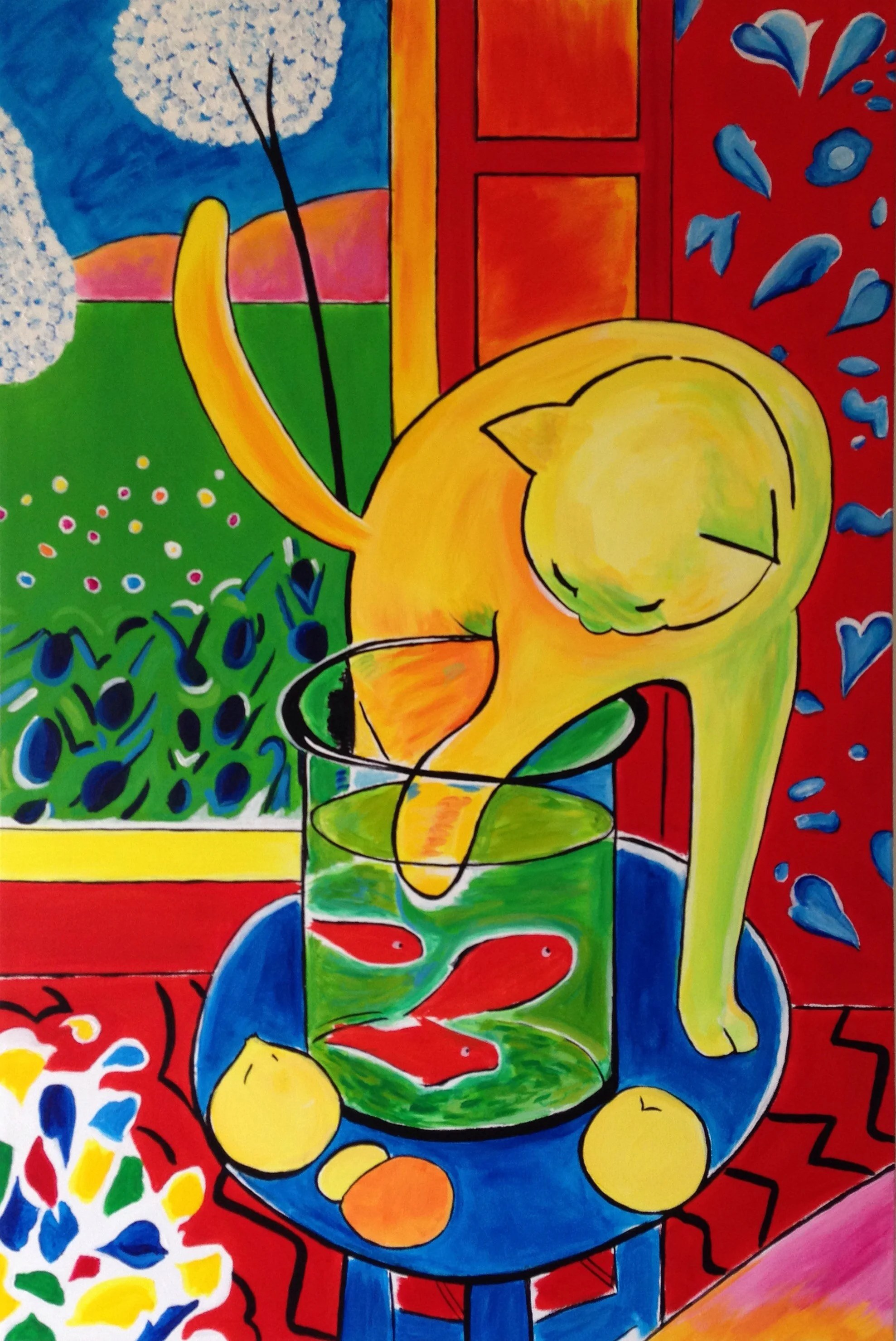 Hand Painted Henri Matisse The Cat With Red Fish Painting