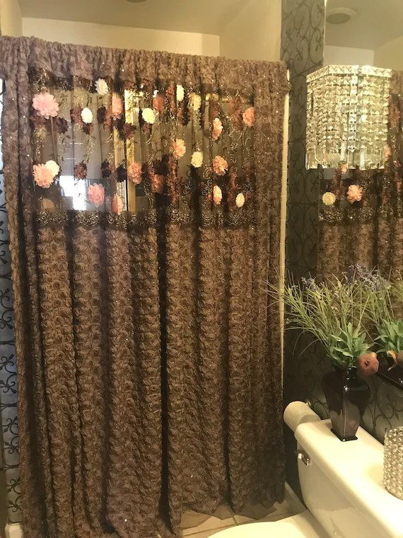 beautiful custom vintage shower curtain in chiffon taupe with sequins 72x82 239 00