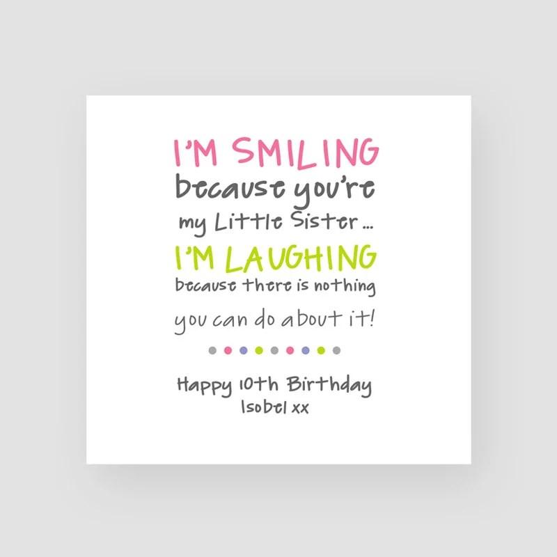 Personalisierte Funny Birthday Card For Sister Kleine Etsy
