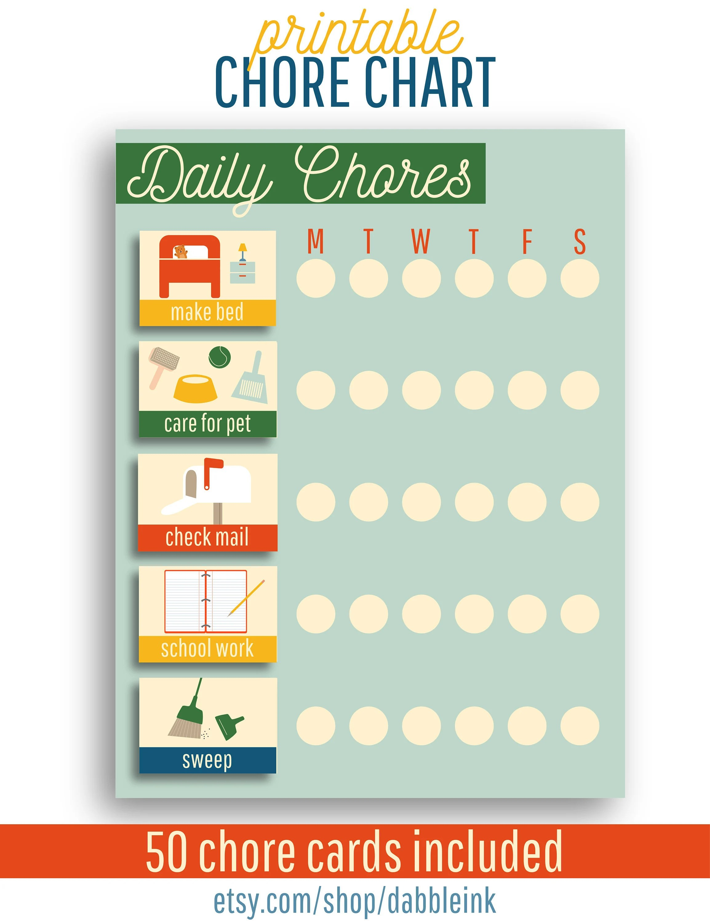 Kids Chore Chart I Toddler Chore Cards With Pictures I