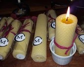 """17cm x 2.5cm """"BLESSED CANDLES"""" Pair of Hand Rolled Beeswax Votive Candles (A2)"""