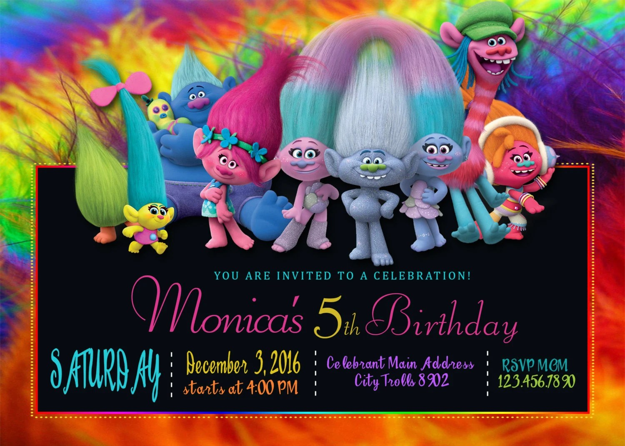 Trolls Birthday Invitation Trolls Invitations Trolls Etsy