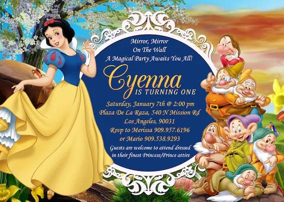 Snow White Seven Dwarfs Birthday Invitation Snow White Etsy