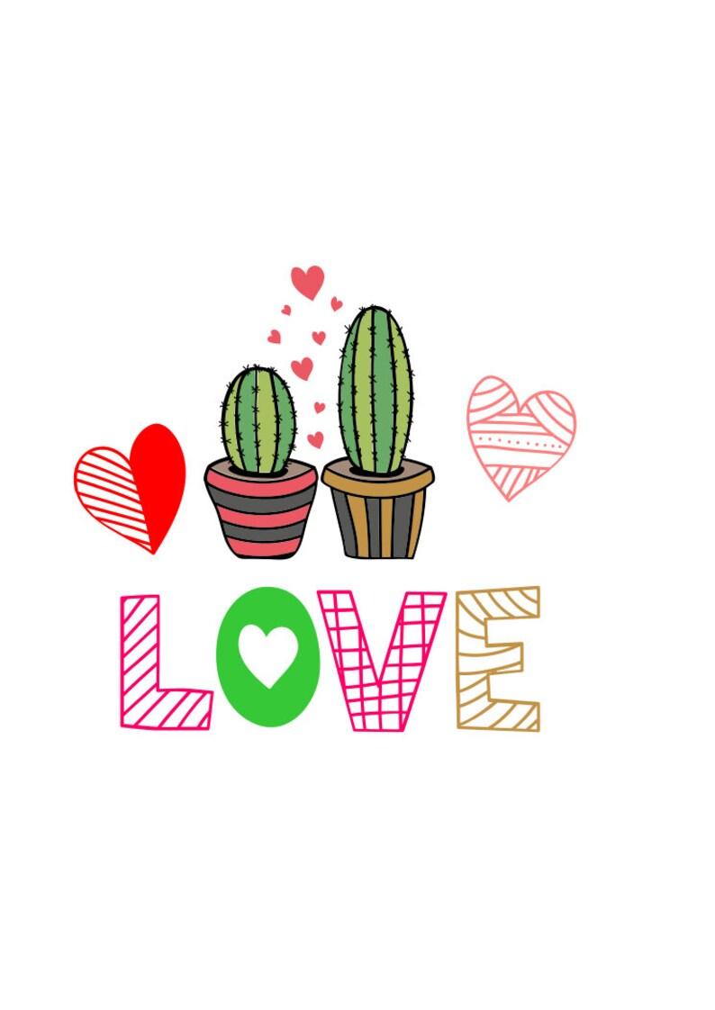 Download Cactus Valentine Love Cactus PNG SVG Cut File | Etsy