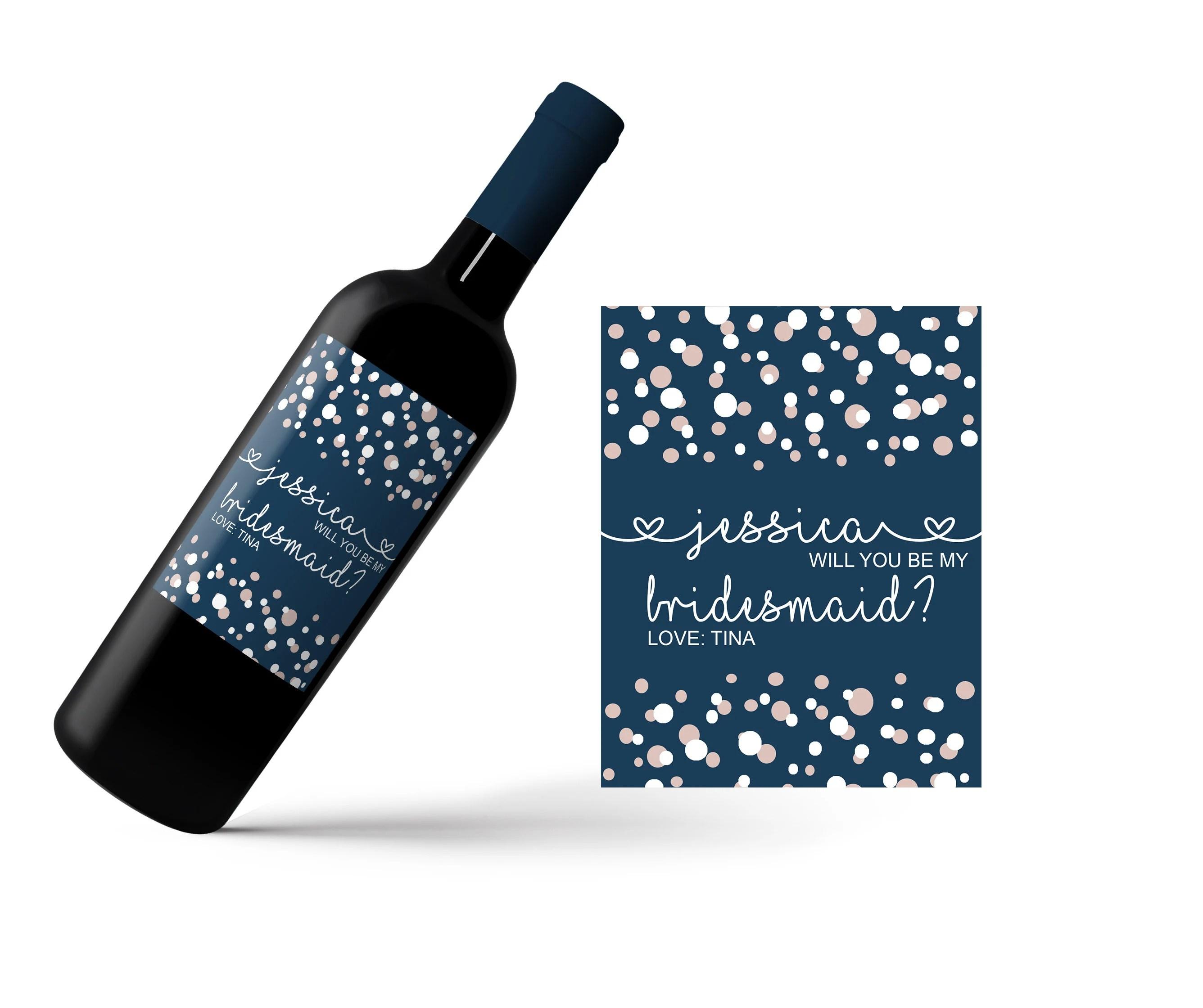 Mini Champagne Bottle Labels / Wine Labels/ Custom Name Label image 2