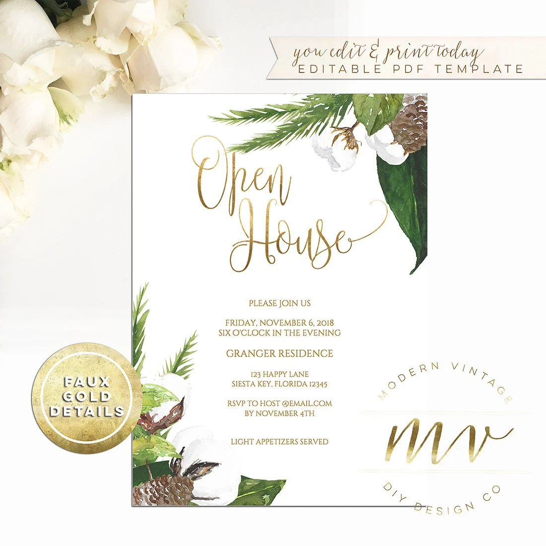 Open House Invitation Template 5x7 Editable Printable