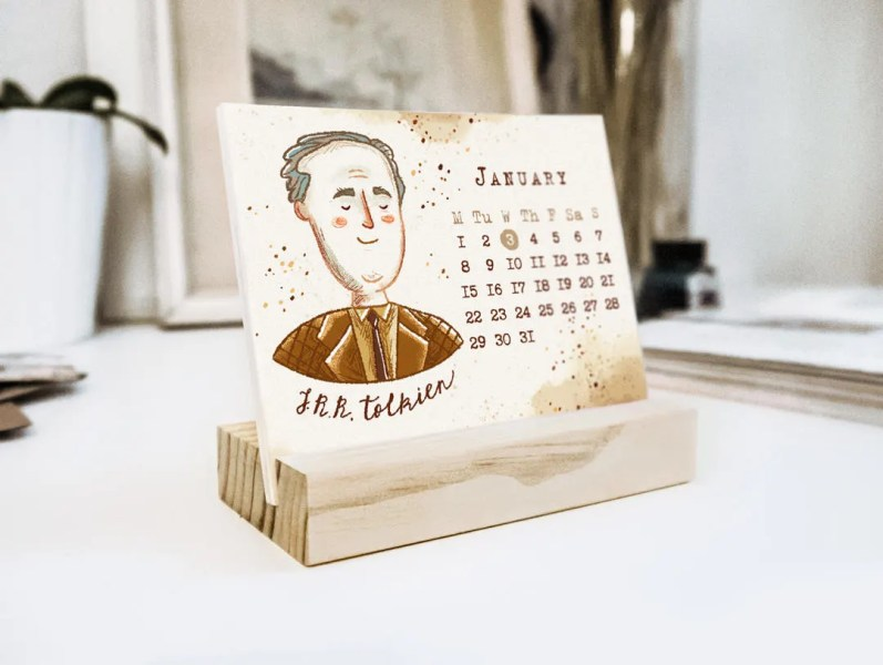 Literary calendar   Etsy 2018 The Writer s World desk calendar with wooden stand     Limited Edition      Writers portraits     Author illustrations     Gift for booklover
