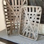 Set Of 2 Gray Tobacco Basket Farmhouse Decor Shabby Chic Wall Etsy