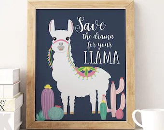 Download Llama quote | Etsy