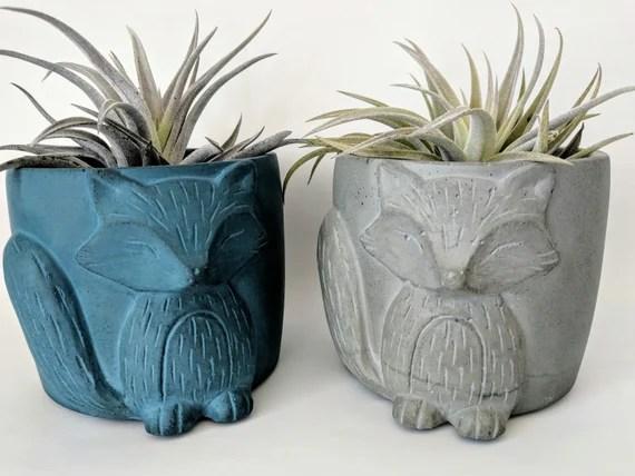 Pots For Plants Concrete Fox Planter Gift Succulent Planter Etsy