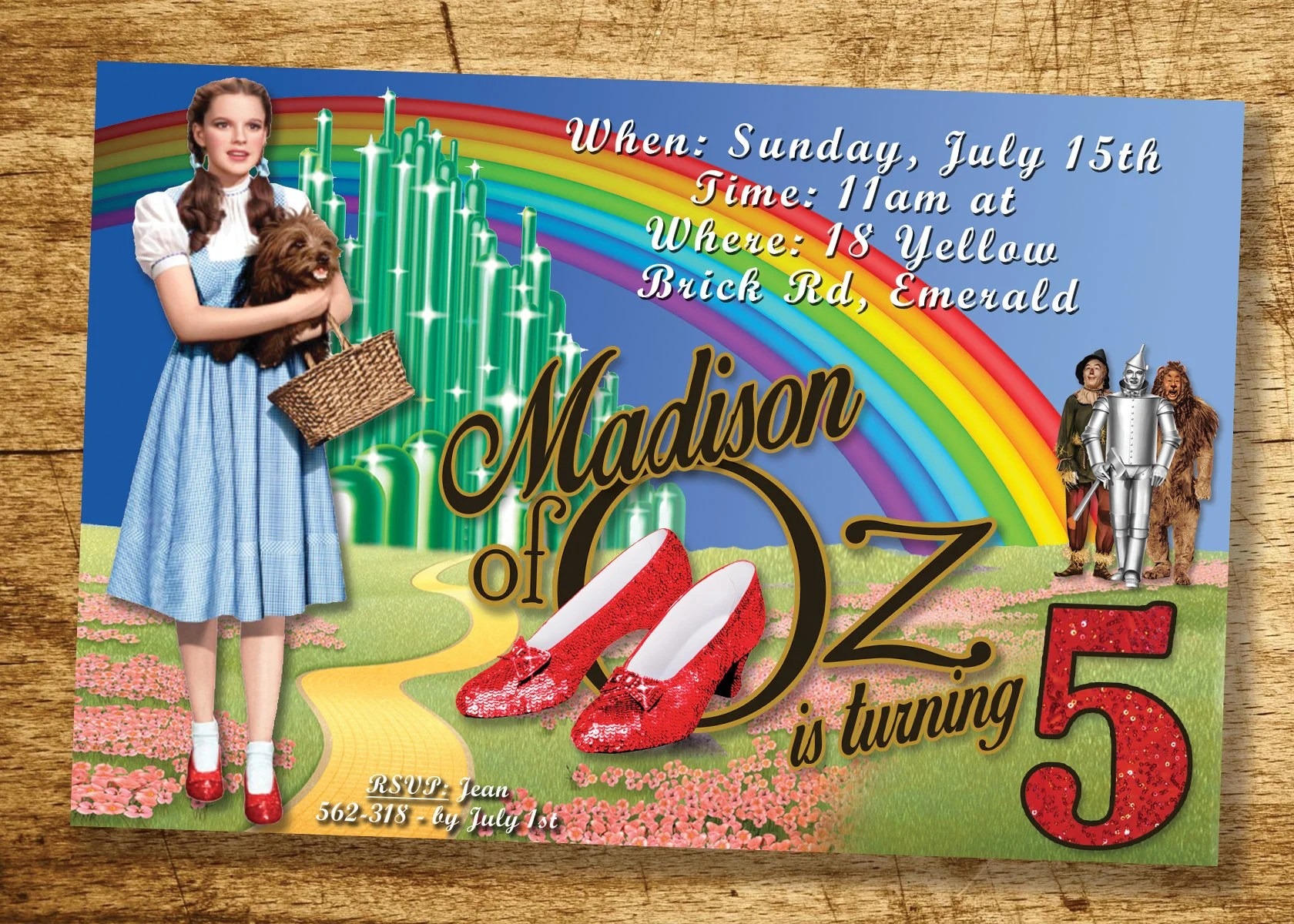 Wizard Of Oz Rainbow Invitation Dorothy Over The Rainbow