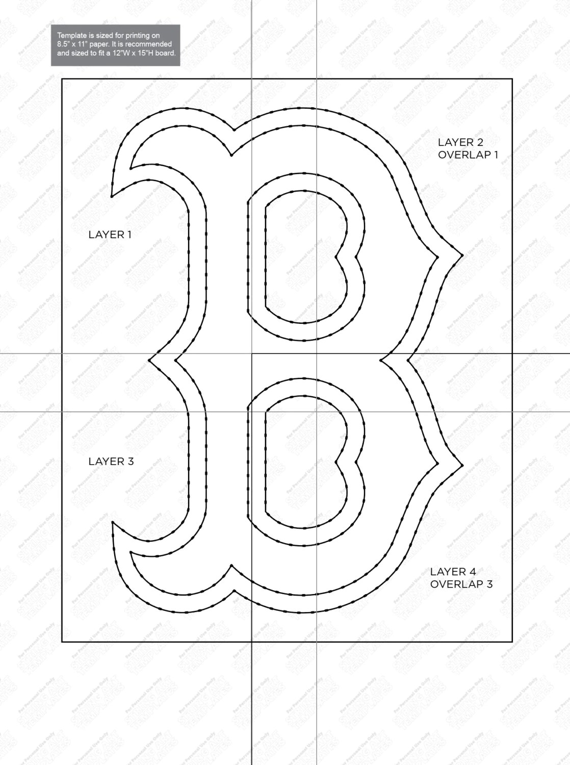Boston Red Sox String Art Template