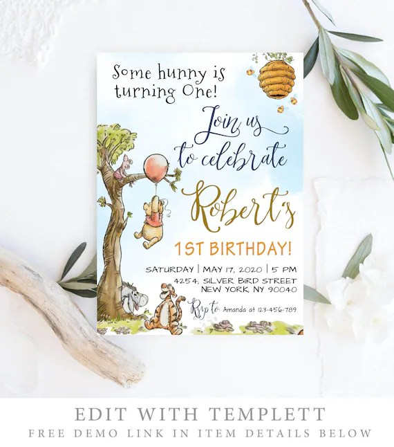 winnie the pooh invitation winnie the pooh birthday invitations classic winnie the pooh invitations editable template