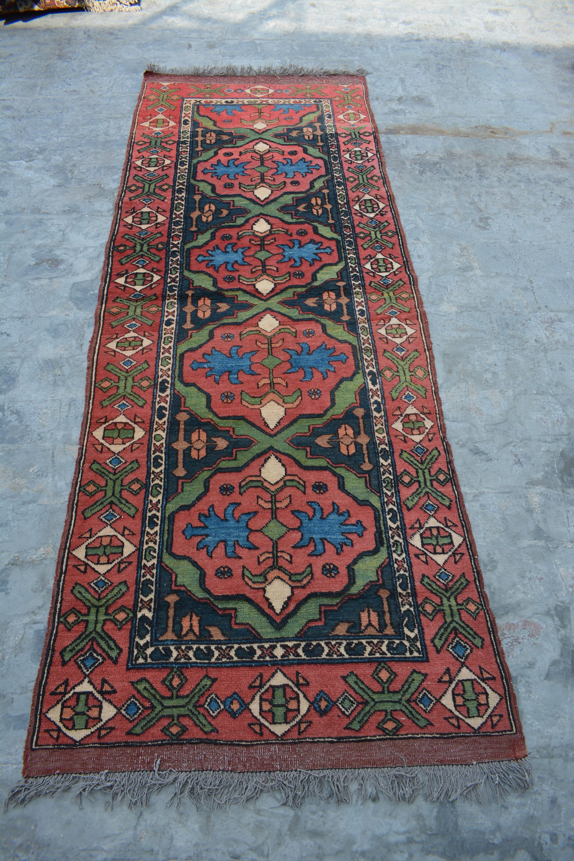 Semi Antique Geometric Design Tribal Kapkaz Carpet