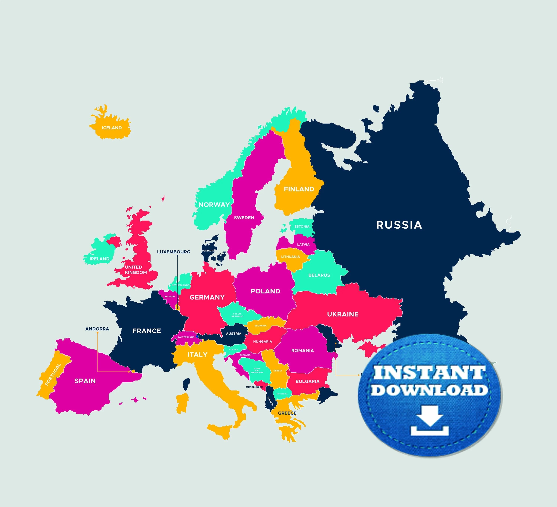 Digital Modern Map Of Europe Printable Download Large