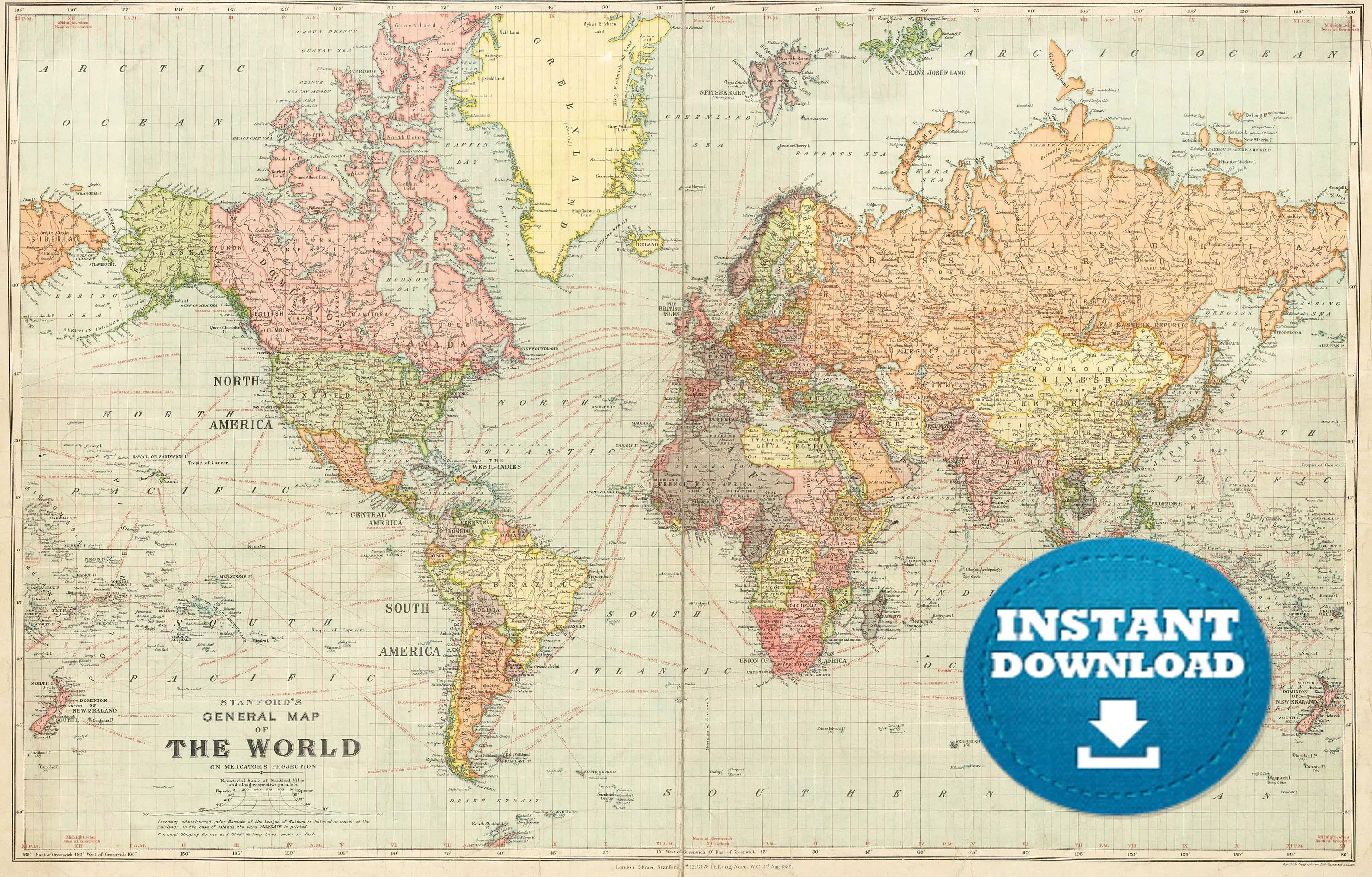 Digital Old World Map Printable Download Vintage World