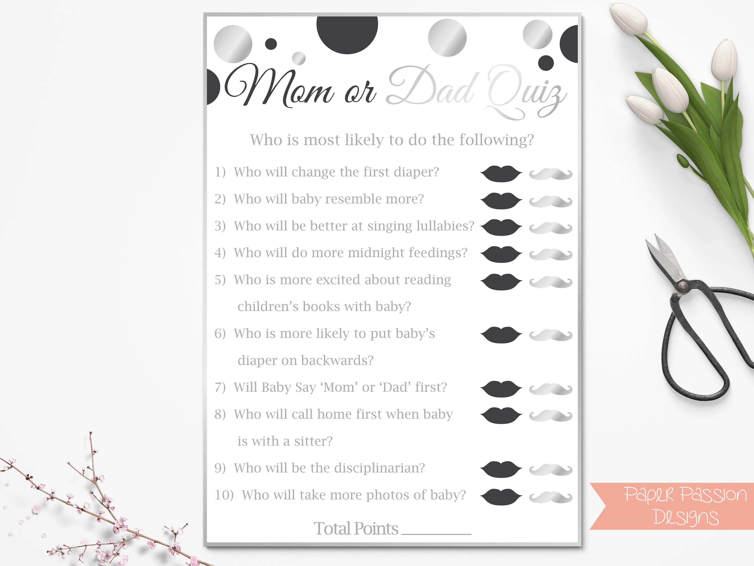 Mom Vs Dad Quiz Black And Silver Baby Shower Game