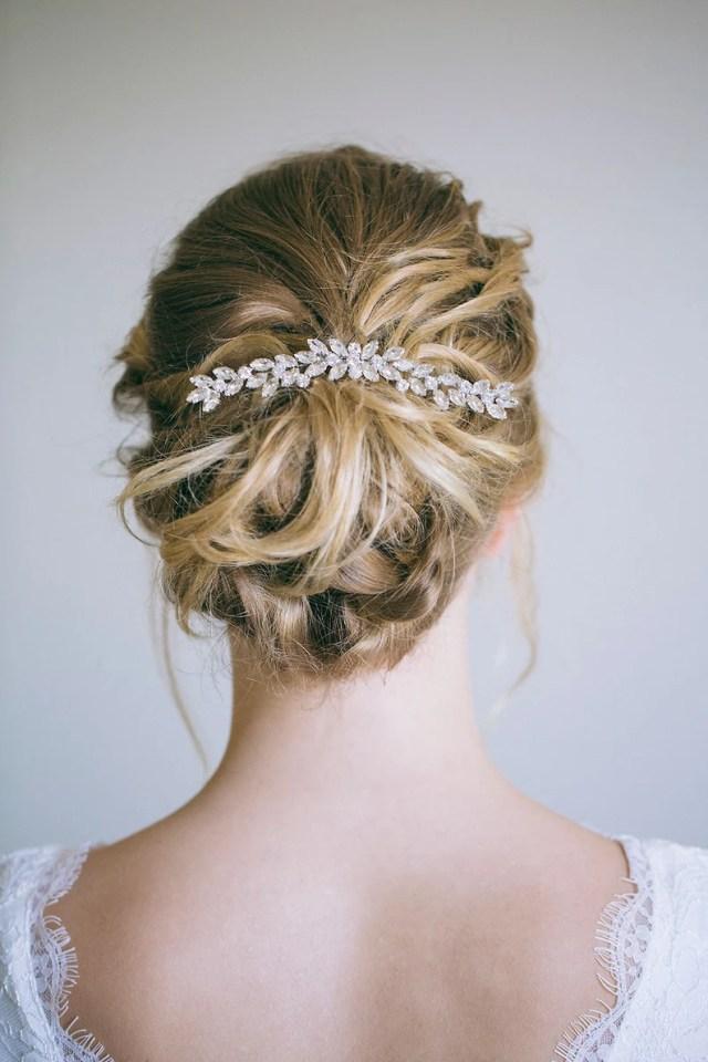 crystal hair comb, bridal hair comb, rhinestone hair comb, silver hair vine, wedding back comb, veil decoration