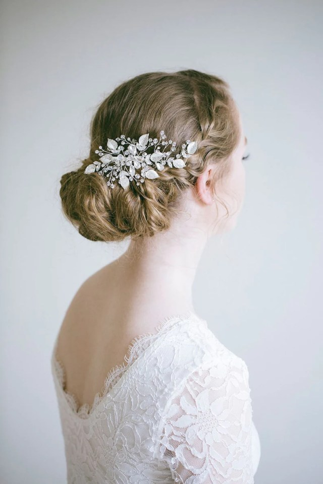 bridal crystal hair clip, crystal leaf hair clip, bridal hair clip, bridal side clip, rhinestone hair clip, wedding hair accessories